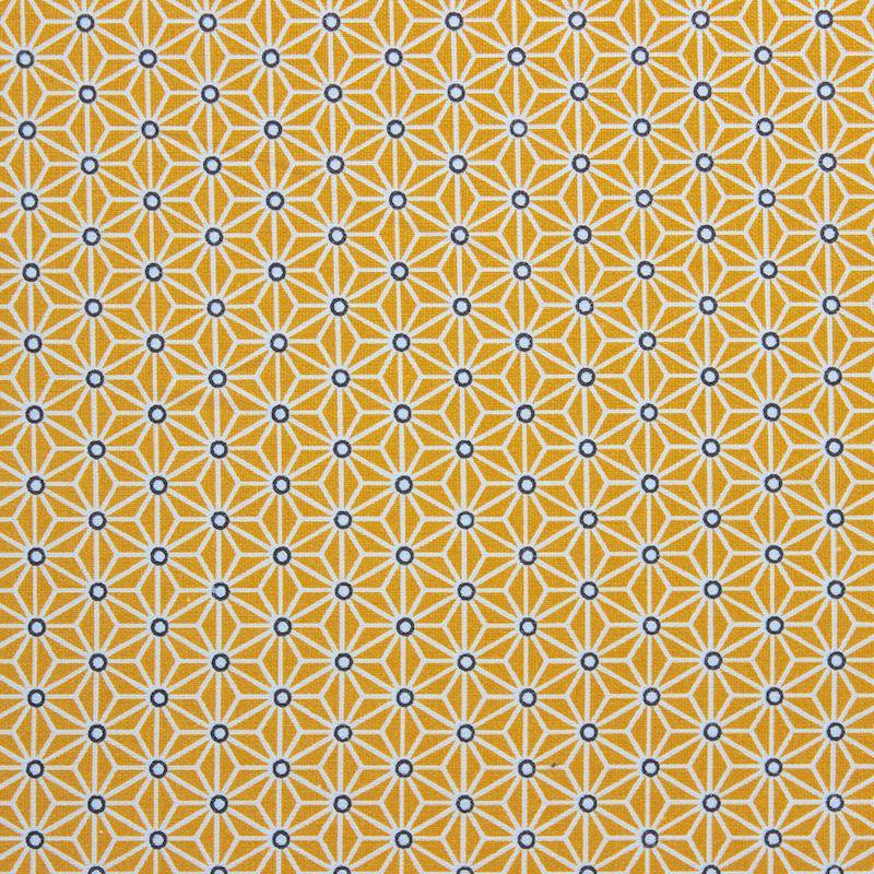 tissu-en-coton-a-motifs-origami-blanc-et-noir-sur-fond-jaune-moutarde