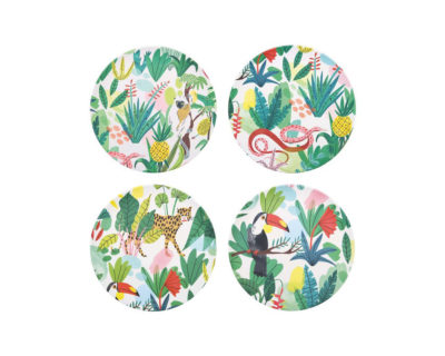 set quatre assiettes bambou jungle &k 1