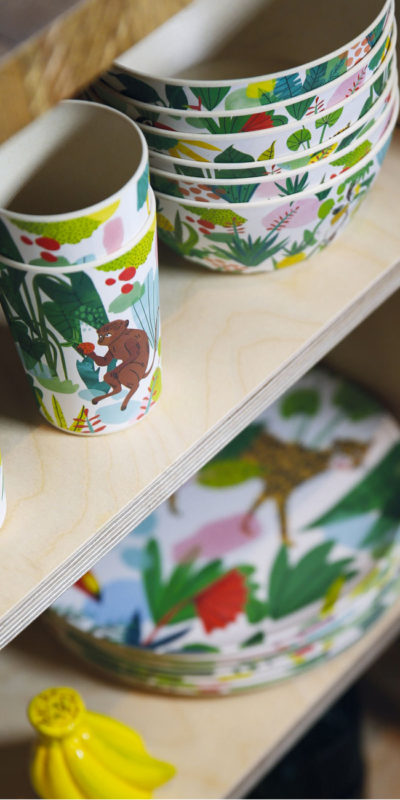 set quatre mugs bambou Jungle