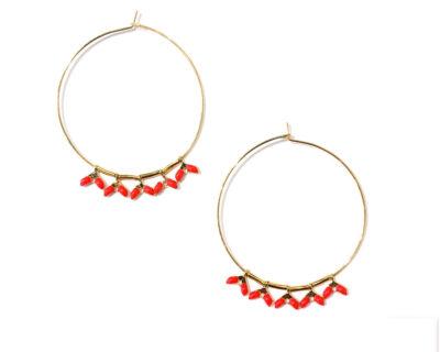 Boucles d'oreilles créoles perles rouges