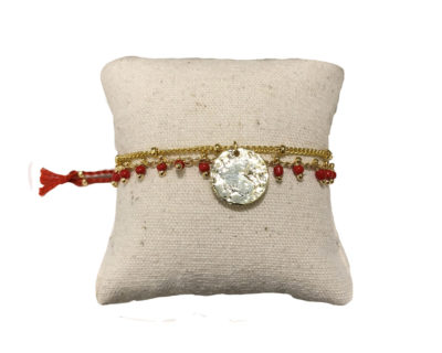 Bracelet double perles pastille