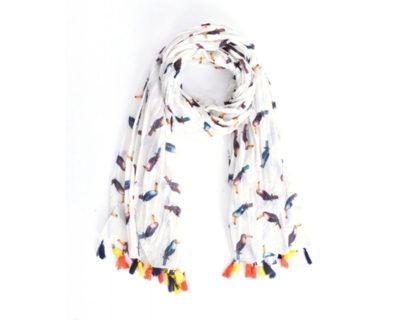 foulard blanc toucan à pompons