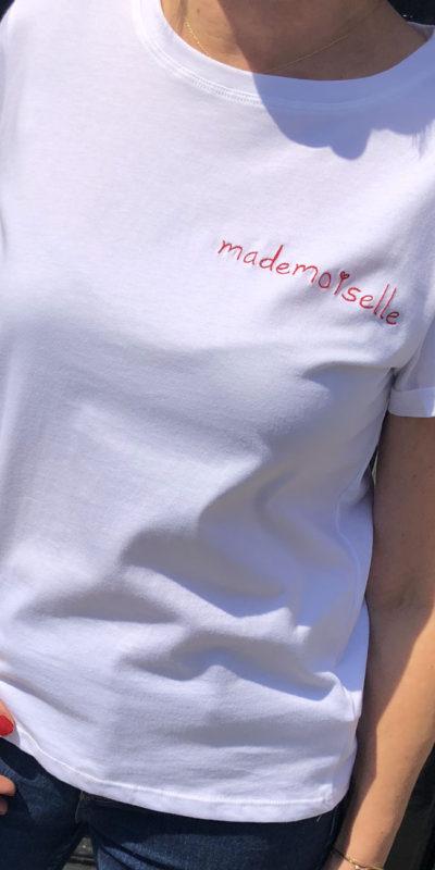 T-shirt brodé Mademoiselle