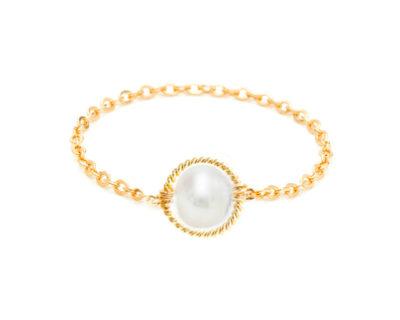 bague chaînette ronde perle de culture yay