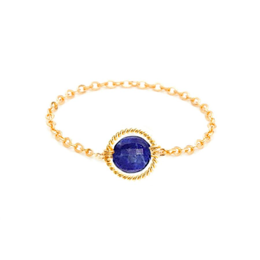 bague chaînette ronde lapis lazuli yay