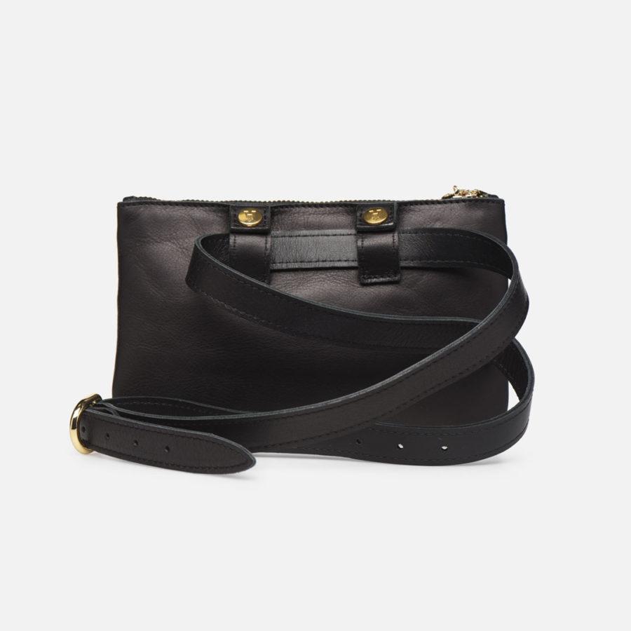 sac ceinture banane cuir noir craie