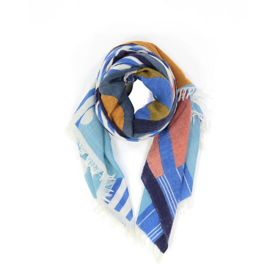 fouard walli bleu et ocre mapoesie écharpe