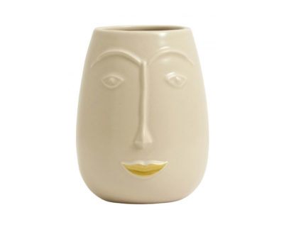vase visage golden lips