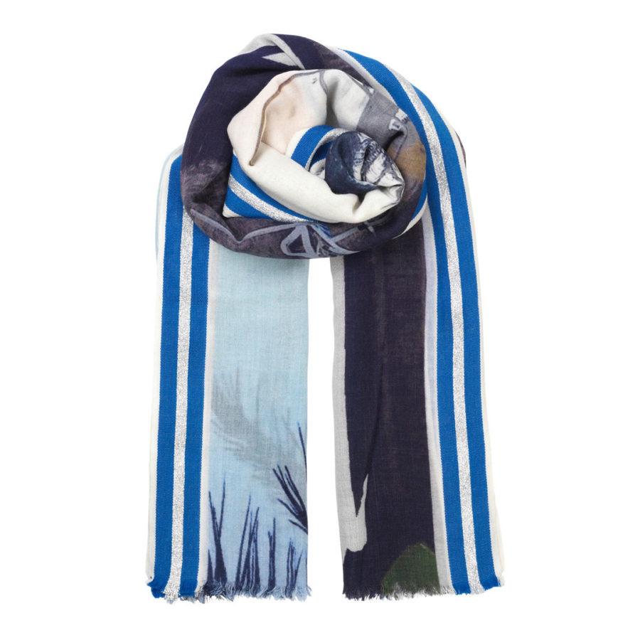 écharpe en laine blue beach