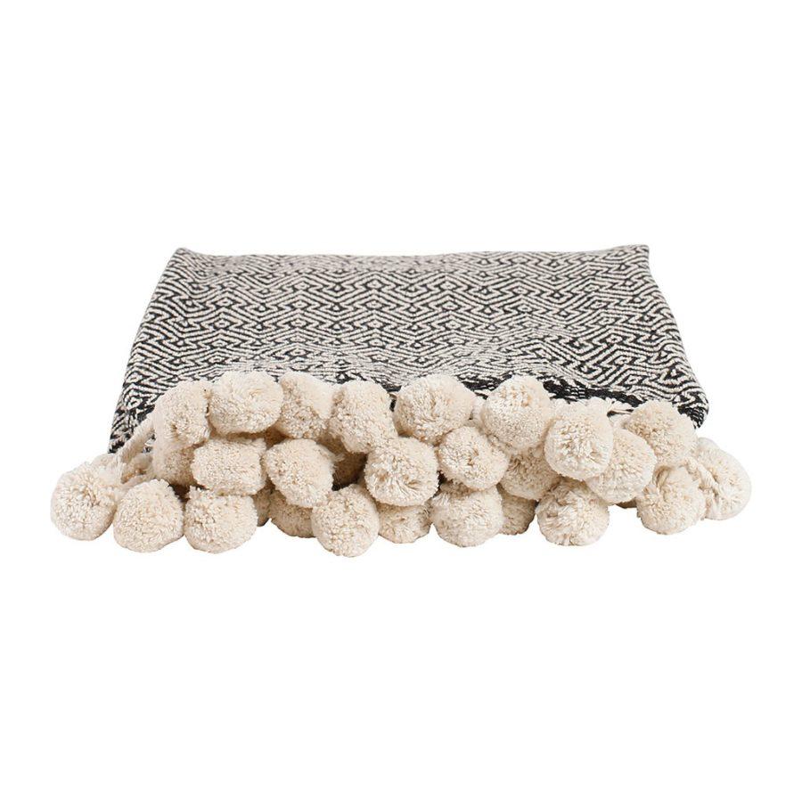 plaid coton noir pompon