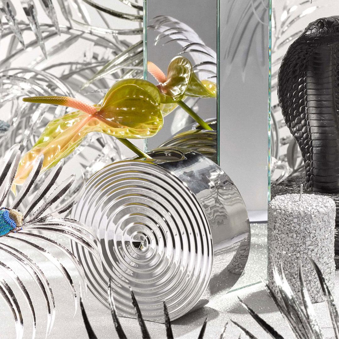 vase ripple argenté