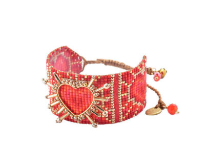 bracelet shining heart rouge