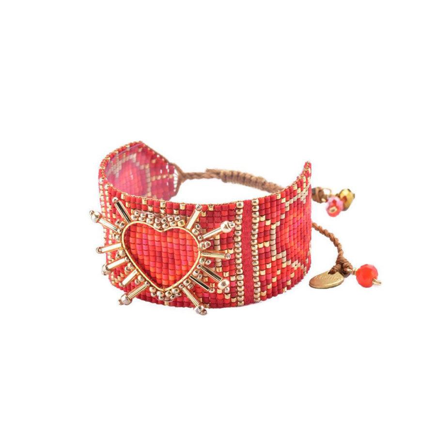 bracelet shining heart rouge