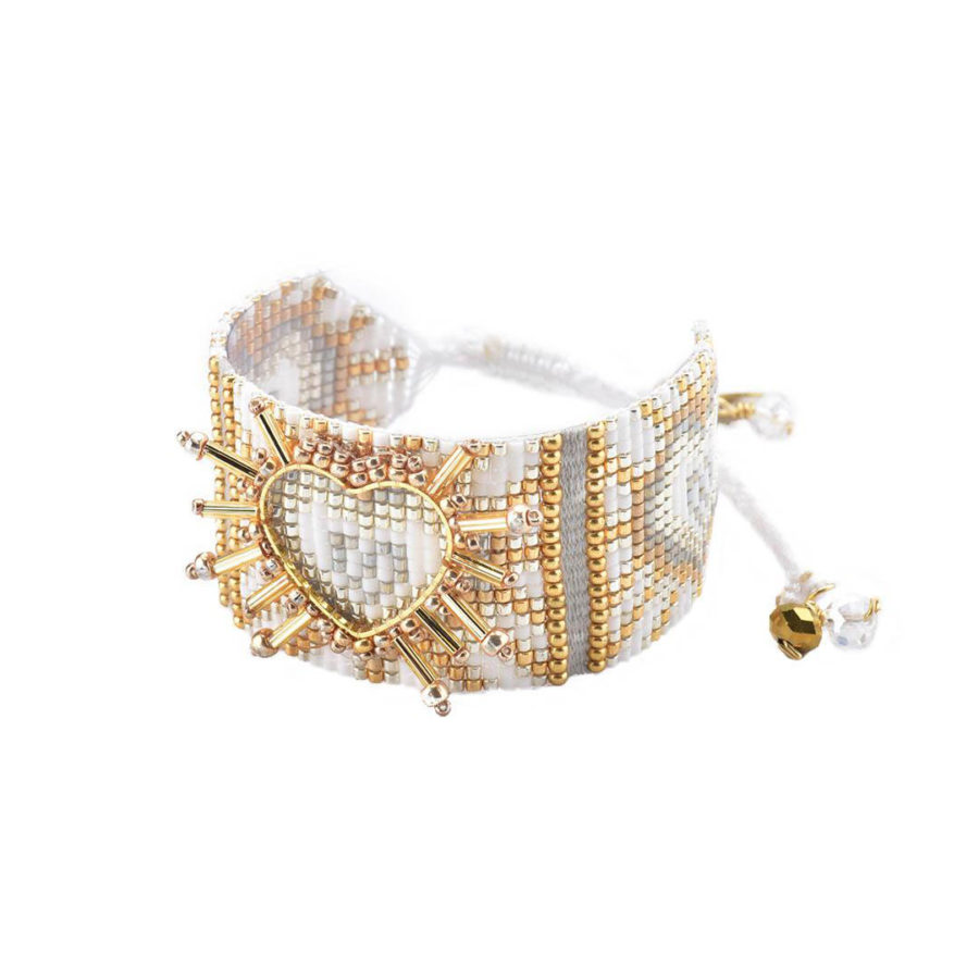 bracelet shining heart blanc