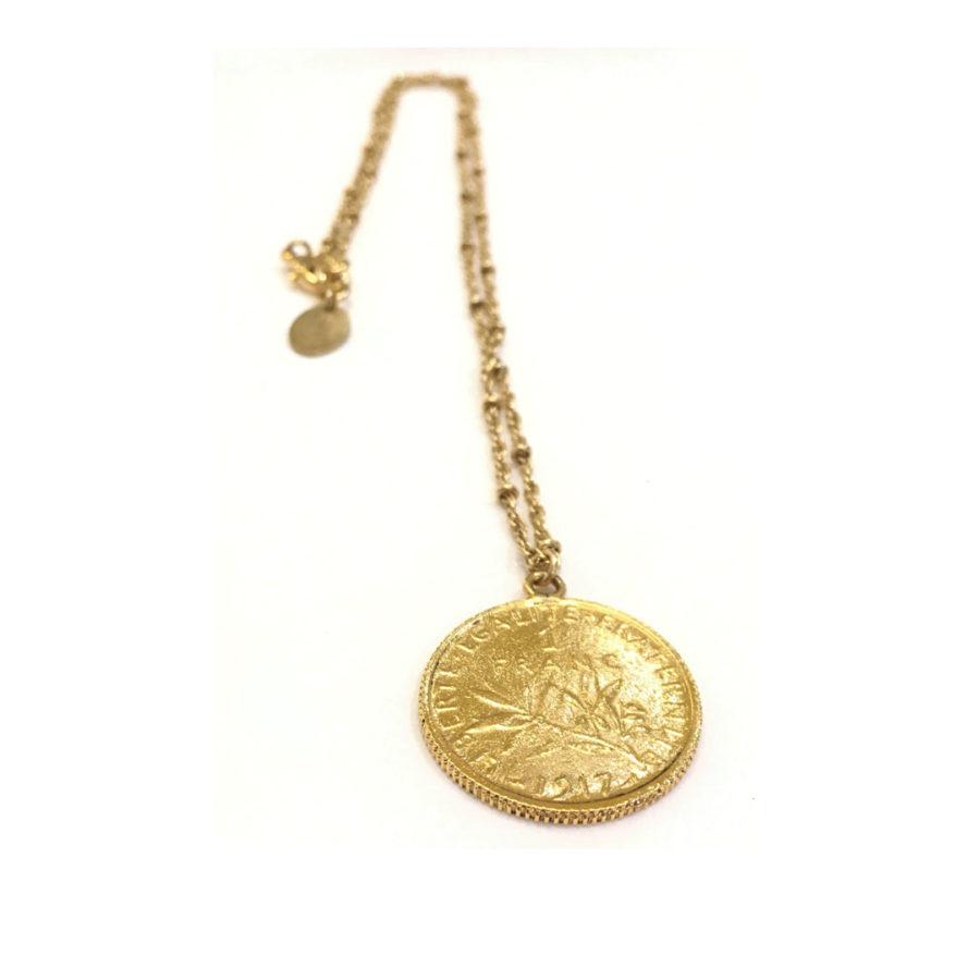 collier médaillon 1 franc
