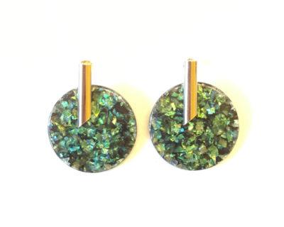 boucles d'oreilles cercle vert nao