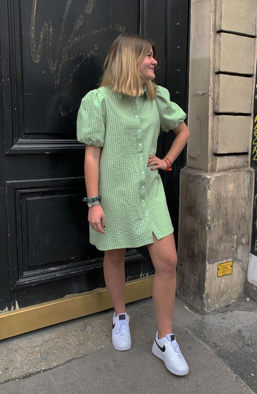 robe amanda pistache daphnea