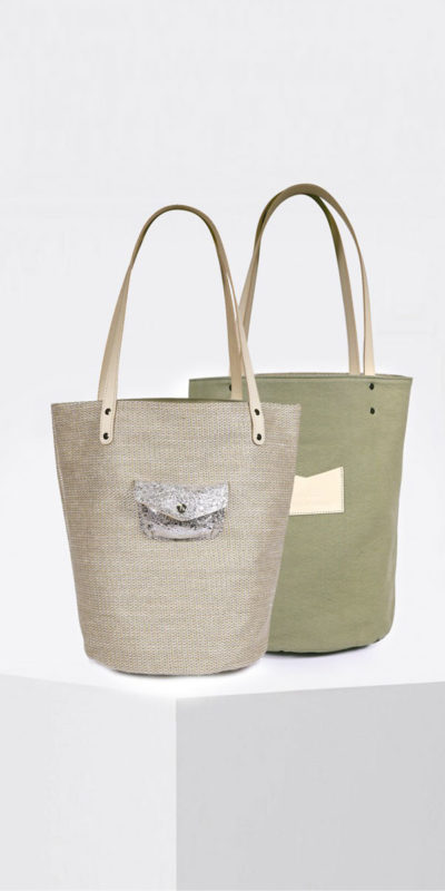 Tote bag réversible naturel Petit Polochon Craie