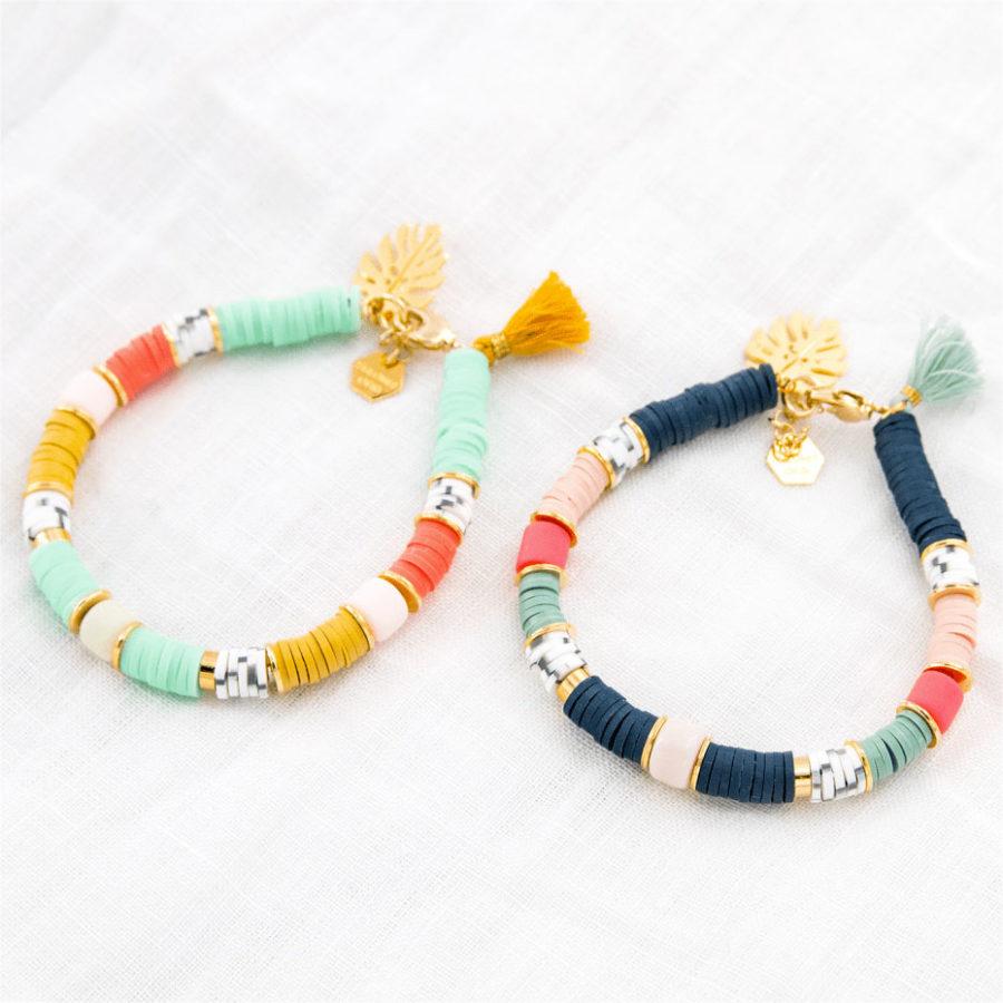 Bracelet perles Heishi bleu Mykonos Shlomit Ofir