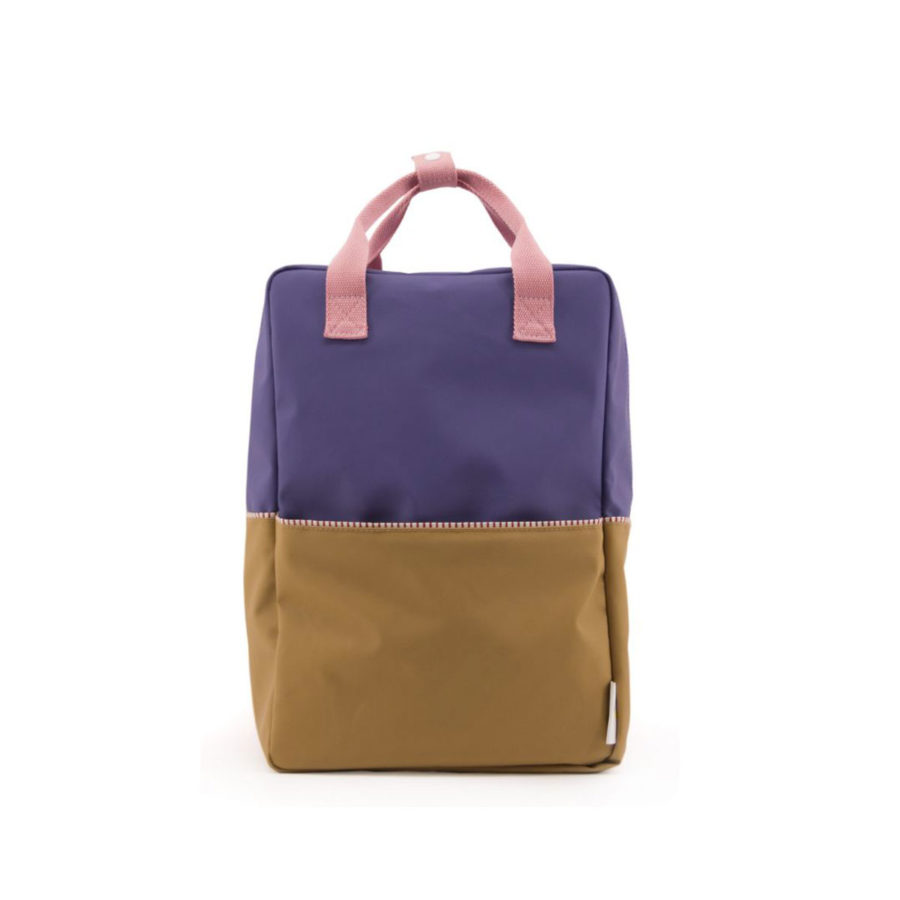 Sac à dos Colourblocking violet/camel large