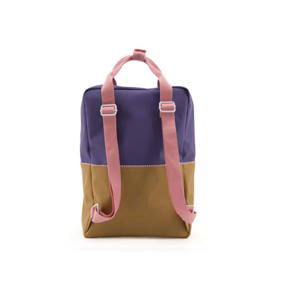 Sac à dos Colourblocking violet/camel large