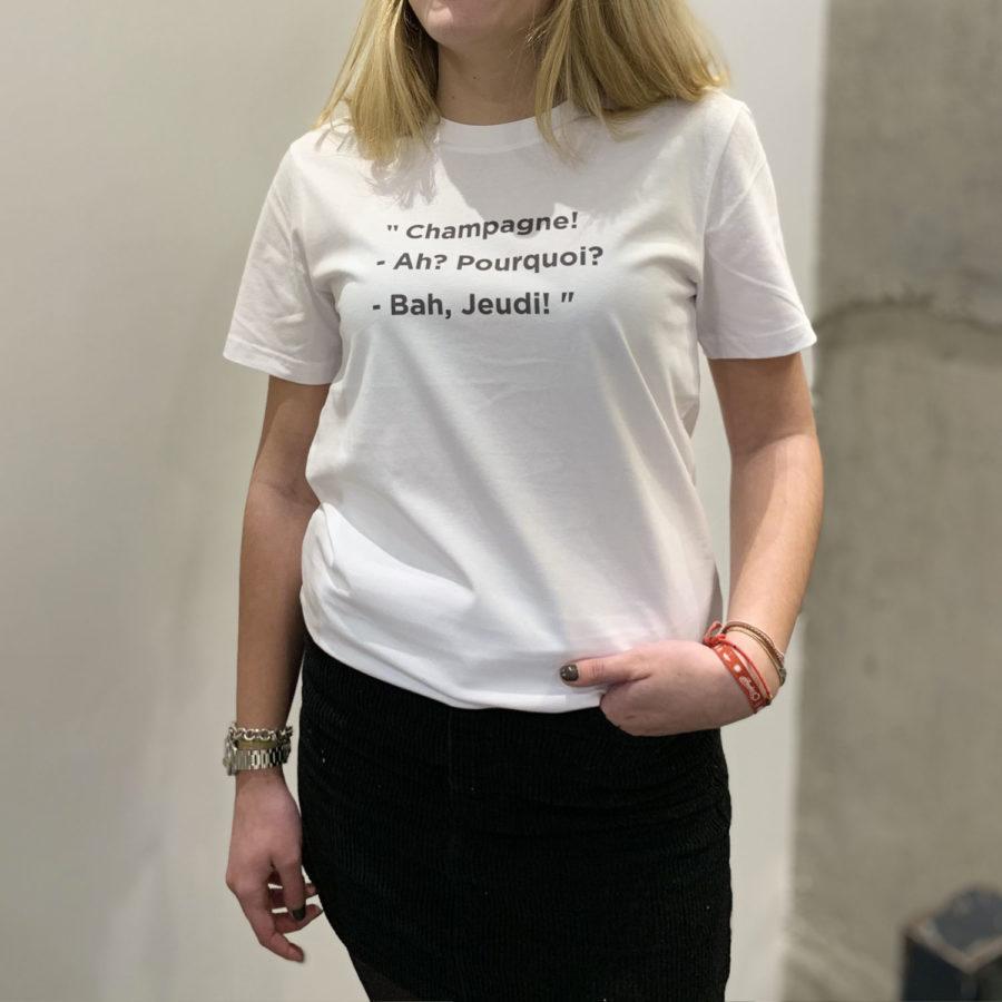 t-shirt à message Champagne