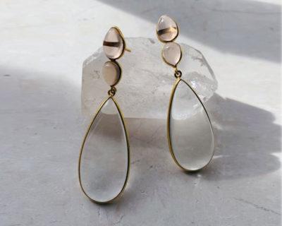 Boucles d'oreilles pendantes champagne Perrin Shyla London