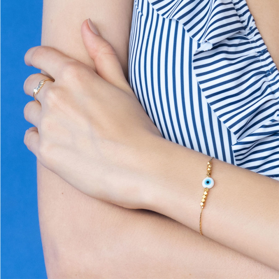 Bracelet oeil Mati plaqué or Shlomit Ofir