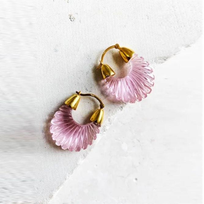 Mini créoles striées rose Ettienne Shyla London