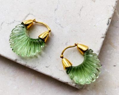 Mini créoles striées vert Ettienne Shyla London