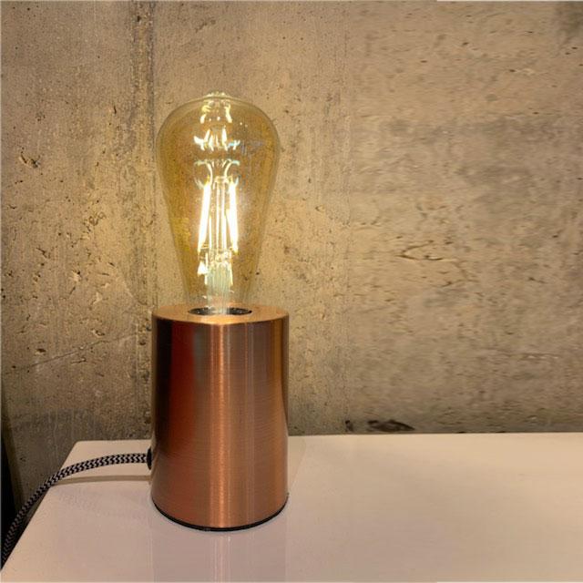 pied de lampe cuivre ampoule filament