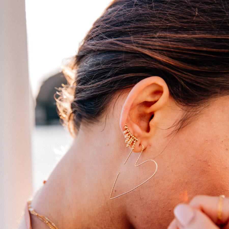 boucles d'oreilles cuff franges yay plaqué or