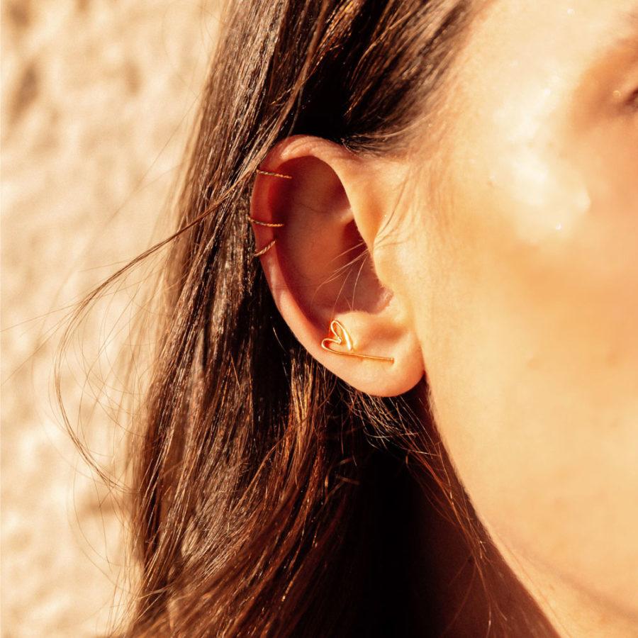Boucles d'oreilles cuff petit cœur plaqué or yay