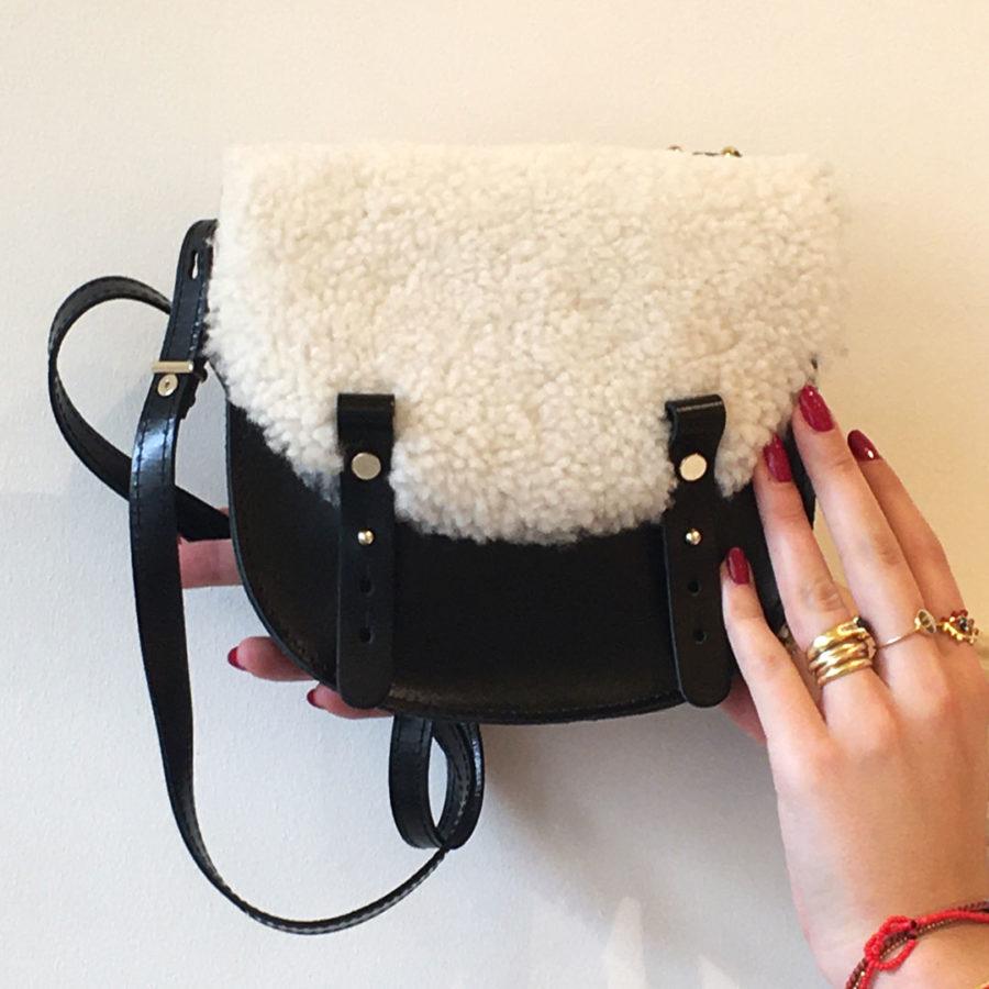 sac mini lune noir laine craie