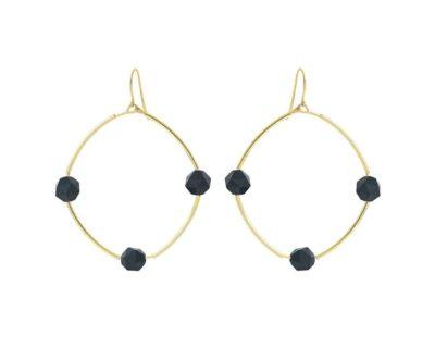 boucles d'oreilles Gina agate noire by zia