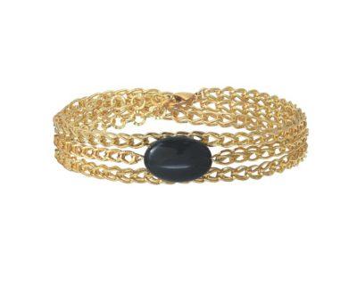 bracelet chaîne gloss agate noir by zia