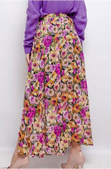 jupe fleurie asymétrique