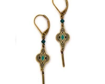 boucles d'oreilles feline turquoise