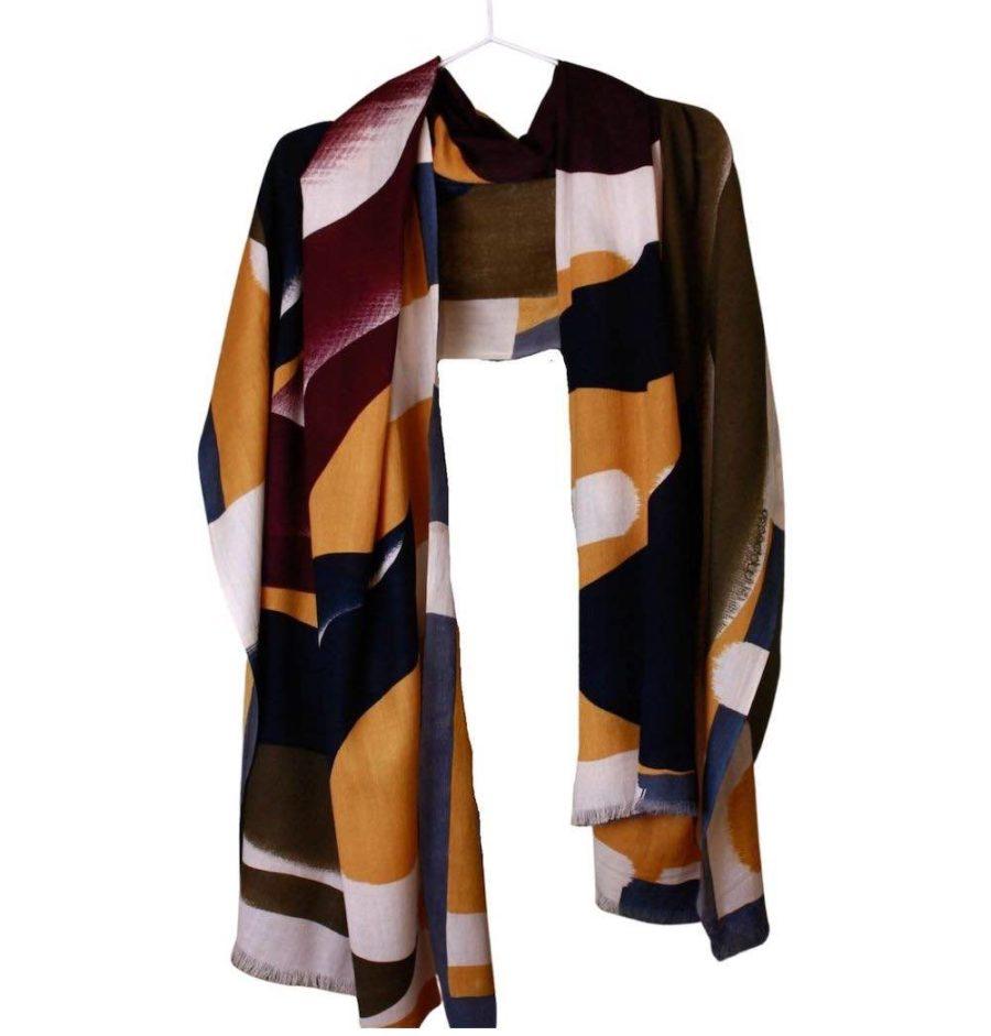 foulard florilege ocre