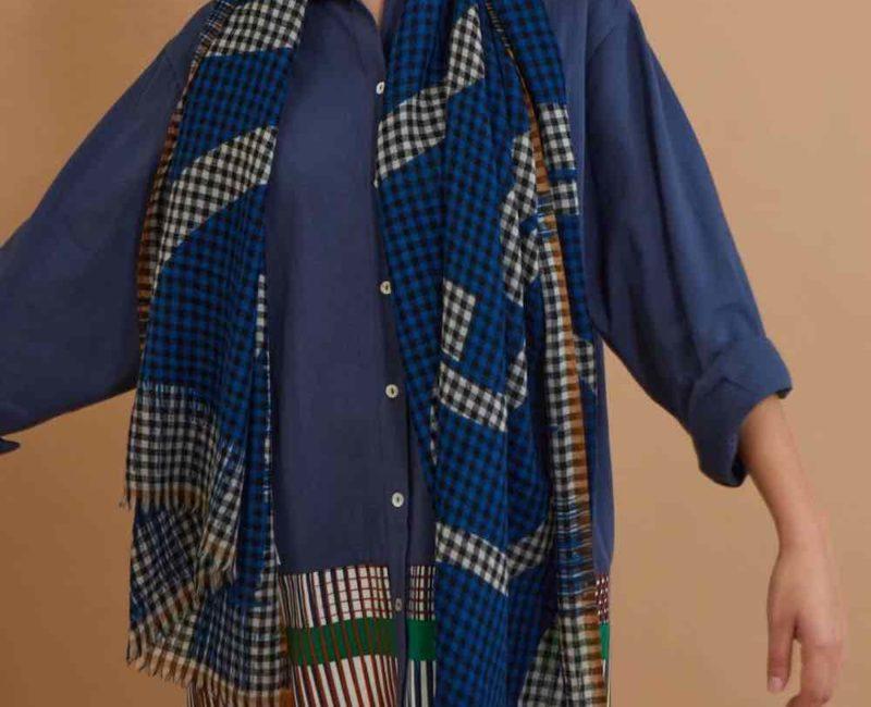 Foulard hokusai bleu