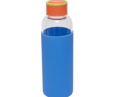 gourde en verre bleue