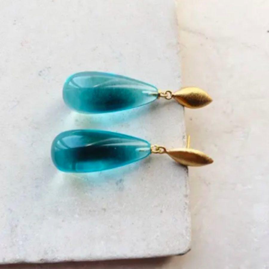 Boucles d'oreilles goutte bleu corine shyla london