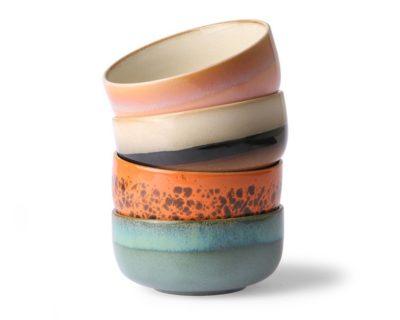 Set de 4 bols en céramique 70's 6956