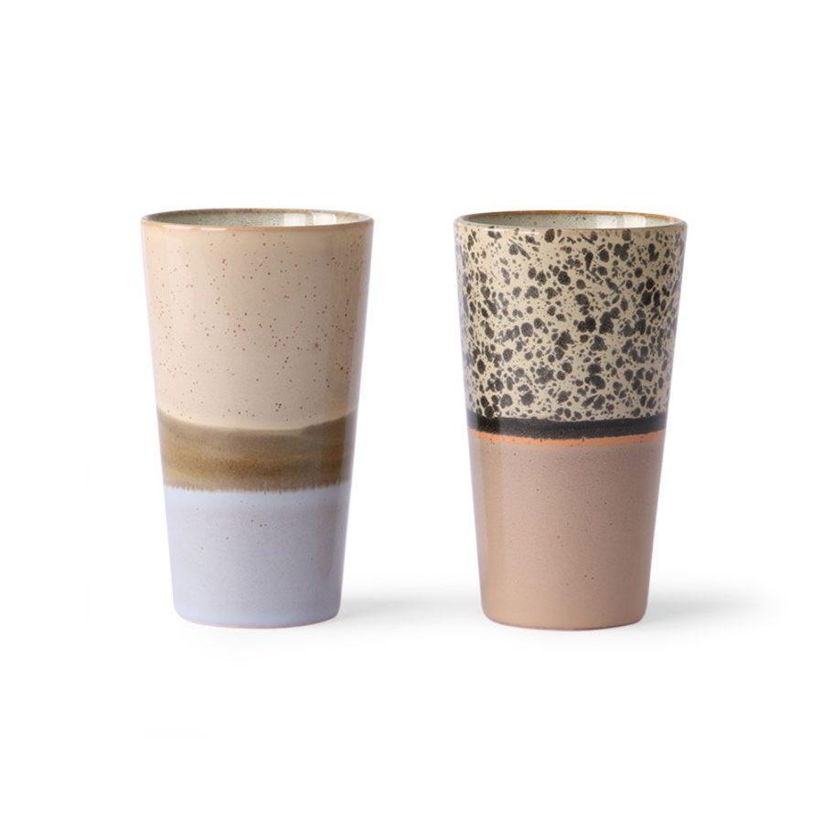 Mug latte ceramic 70's set de 2