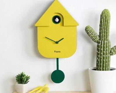 Pendule maison coucou jaune