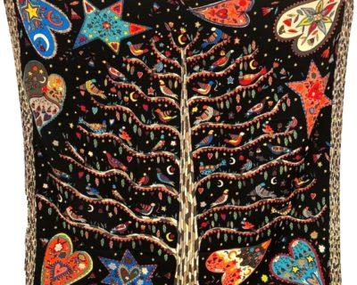 Foulard arbre de vie noir
