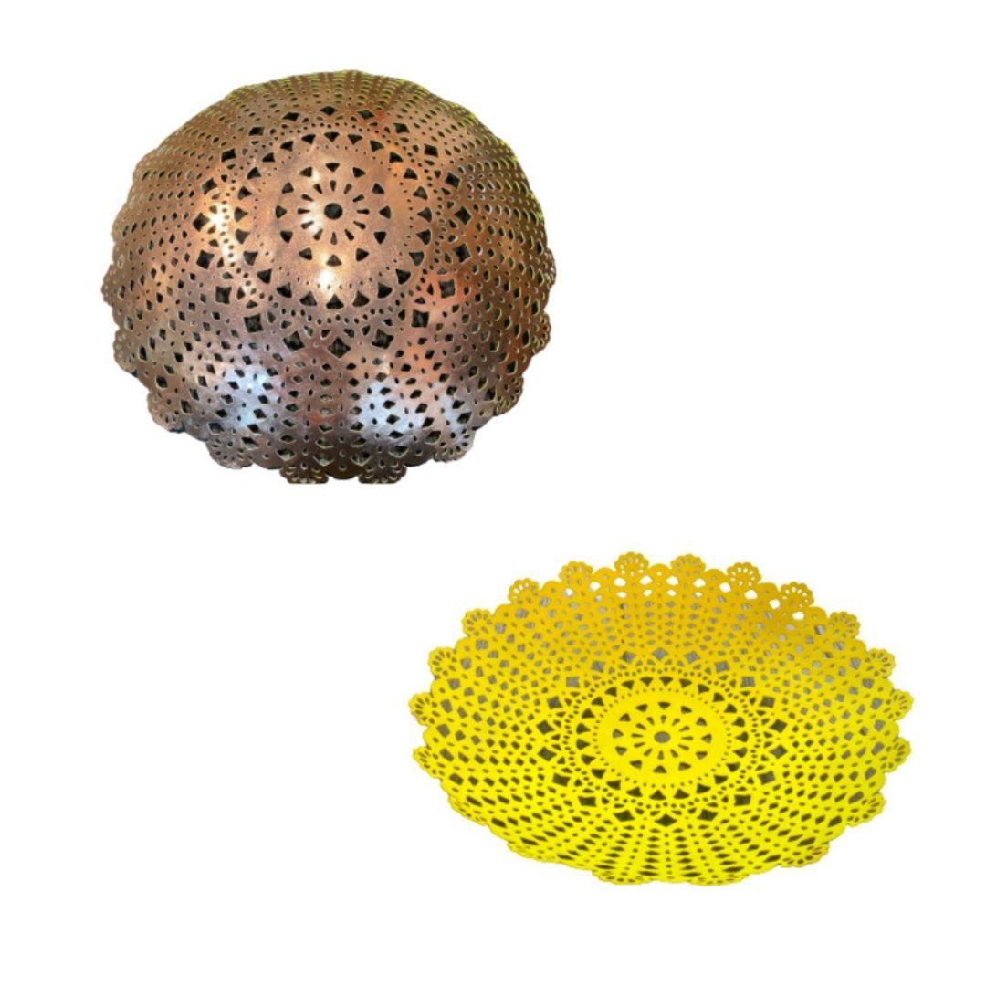 Corbeille métal perforée jaune