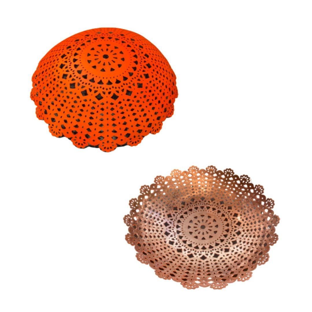 corbeille métal perforée orange
