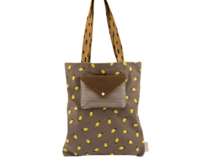 tote bag velours gris