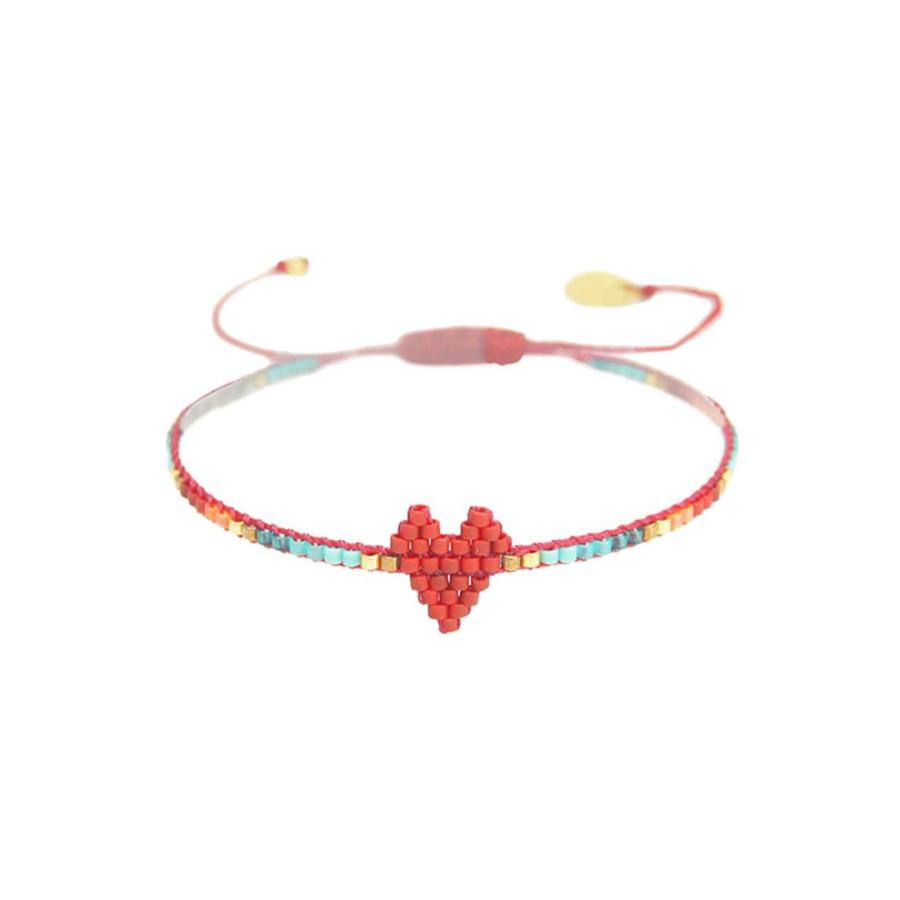 Bracelet heartsy row rouge